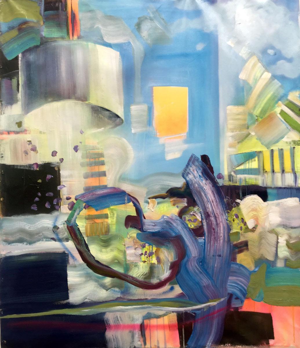 """Hockney On Vacation - 52"""" x 42"""", Oil, 2015"""